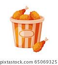Fried Chicken Drumsticks in Paper Bucket, Fast Food Meal Vector Illustration 65069325