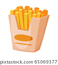 French Fries in Paper Box, Fast Food Meal Vector Illustration 65069377