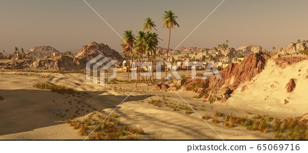 Arabic small town on desert, 3d rendering 65069716