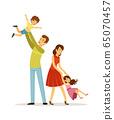 Family time. Father mother son daughter characters. Smiling parents and happy children spend day together vector illustration 65070457