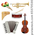 Music instruments. Audio items collection for pop or rock jazz music band vector illustrations 65070500