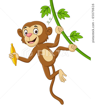 Cartoon monkey hanging and holds banana in tree branch 65070616