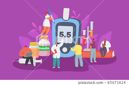 Diabetes disease care with glucometer equipment vector illustration. diabetic diagnosis test glucose in blood, healthy sugar level 65071624