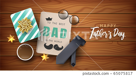 Happy Father's Day poster or banner for Shopping, Speciail event and advertisement. Top view of 3D realistic tie, mustache, circle glasses and elements. Vector illustration. 65075817
