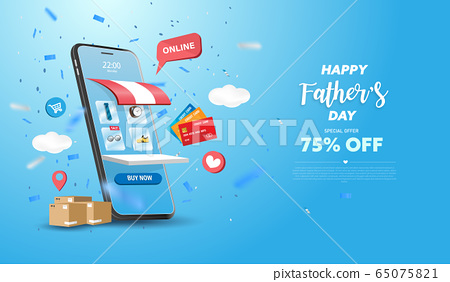Happy Father's Day Sale banner or Promotion on blue background. Online shopping store with mobile , credit cards and shop elements. Vector illustration. 65075821