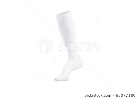 Blank white soccer socks toe mock up, side view 65077180