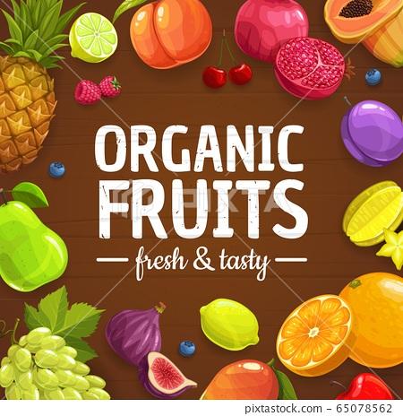 Fresh fruits and berries, organic farm food 65078562