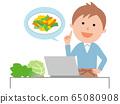 PC에서 음식 요리법을 검색하는 남자 65080908