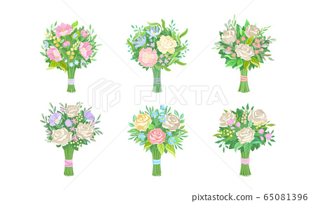Bunch of Lush Flowers with Green Leafy Branches Vector Set 65081396