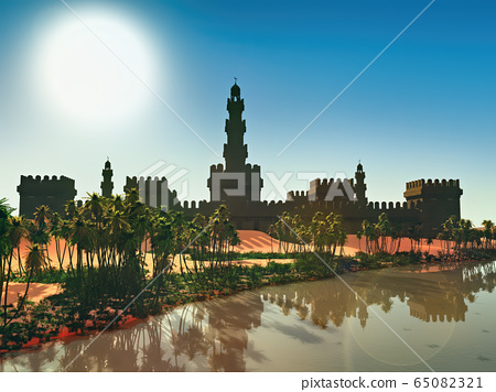 Arabic small town on desert, 3d rendering 65082321