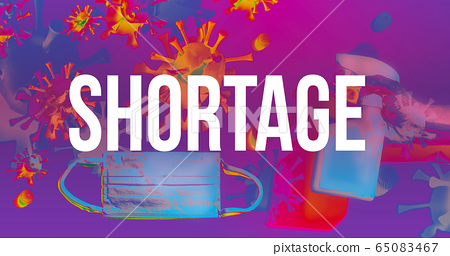 Shortage theme with face mask and spray bottle 65083467