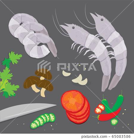 Set of Ingredient Tom Yum kung Soup Traditional Thai Food. Cartoon Vector illustration 65083586