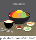 Set of Traditional Korean food, Bibimbap Rice with Soup and Vegetables Salad. Cartoon Vector illustration 65083645
