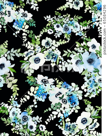 Seamless watercolor pattern with anemones 65084296