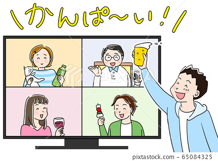 Online drinking party characters 65084325