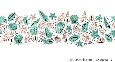 Seashells seamless vector border pink and teal on white. Marine repeating line art pattern with 65084813