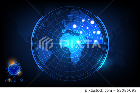 covid 19 background, Overall condition corona virus, map scan concept, futuristic digital innovation background vector illustration 65085095