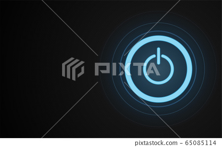 Power button neon glowing lines, Power button concept, Science and technology background 65085114
