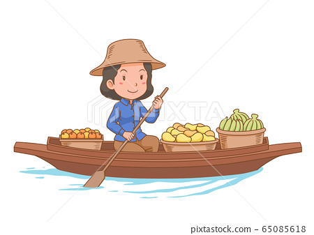 Cartoon character of floating market vendor rowing the boat. 65085618