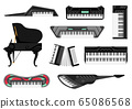 Collection of musical keyboard instrument. Isolated icons set of music key boards on white background. Vector musician equipments. Tools for music lover 65086568