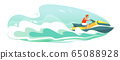 Jetski landscape cover design. Man ride hydro cycle in sea vector poster. Water sport isolated background. Summer holiday on Aquabike ocean waves cartoon illustration. Character racing water scooter 65088928