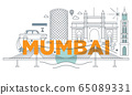 Typography word Mumbai branding technology concept. Collection of flat vector web icons. Indian culture travel set, architectures, specialties detailed silhouette. Doodle famous landmarks. 65089331