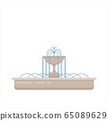 Flat vector illustration of fountain with bowl and 65089629