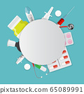 Colorful set of Health Medical Background. Vector 65089991