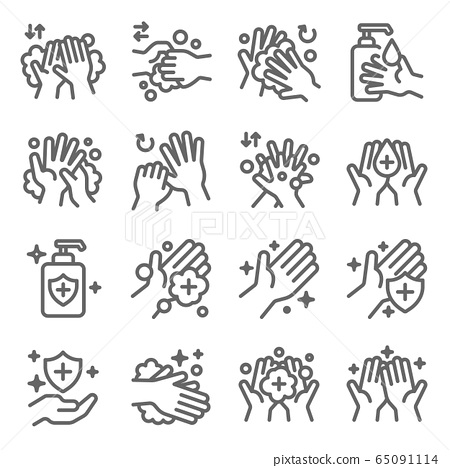 Hand washing symbol icon set vector illustration. Contains such icon as Cleaning, Antibacterial, Protection, Wellness, Healthy, Scrub and more. Expanded Stroke 65091114