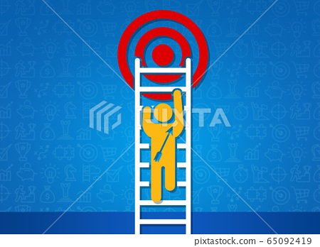Achieving success. Person with arrow climbing ladder upwards to reach target, blue background. Creative illustration 65092419