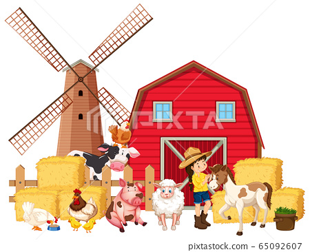 Scene with farmer and many farm animals 65092607