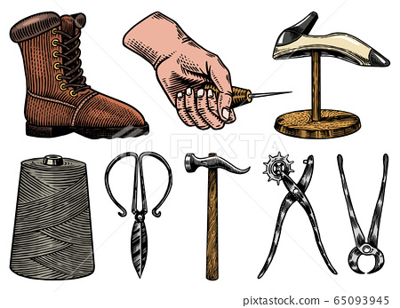 Cobbler set. Professional equipments for Shoe repair. Shoemaker or bootmaker. Cream Hammer Awl Brush 65093945