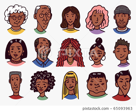 Diverse faces of African and Latin American people. Character set. Human Avatars Collection. Multi 65093963
