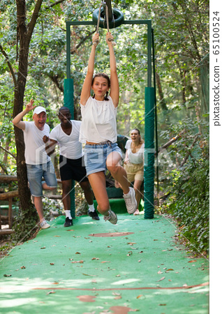 Trolls or Zip Line - this is speed descent along rope or rope stretched at an angle 65100524