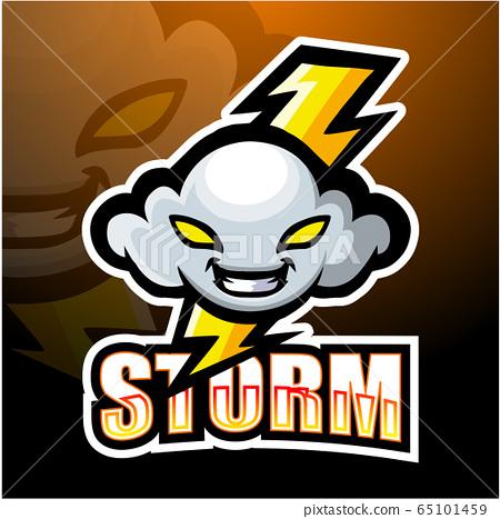 Storm cloud mascot esport logo design 65101459