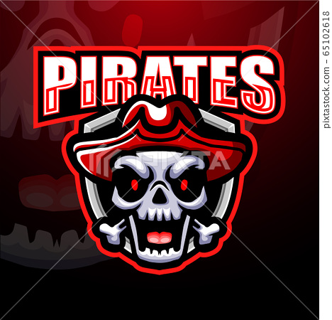Pirate skull esport mascot logo design	 65102618