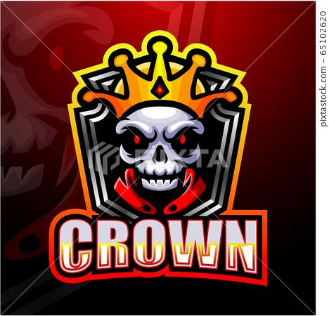King skull esport mascot logo design 65102620