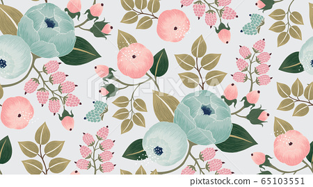 Vector illustration of a seamless floral pattern with spring flowers.  65103551