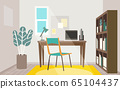 Stylish home office room for telework 65104437