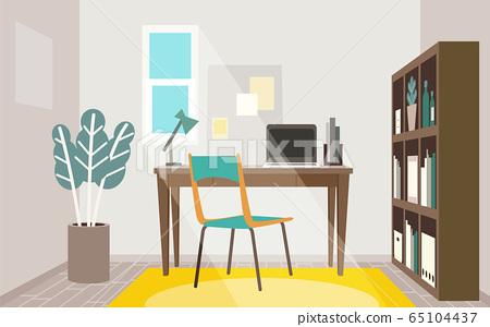 遠程辦公的時尚家庭辦公室室 65104437