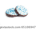 Blue coconut marshmallows with chocolate on a white background, isolate, delicious 65106947