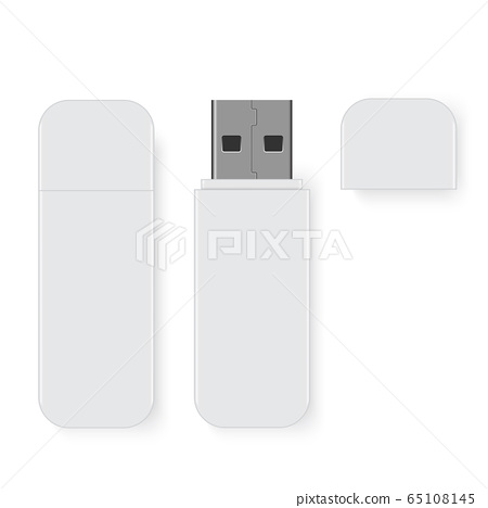 Realistic flash drive mockup, open and closed. 65108145
