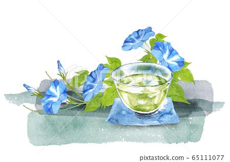 冷茶和牽牛花水彩 65111077