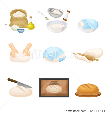 Kneading and Rolling Out Dough for Bread Cooking Vector Set 65111311