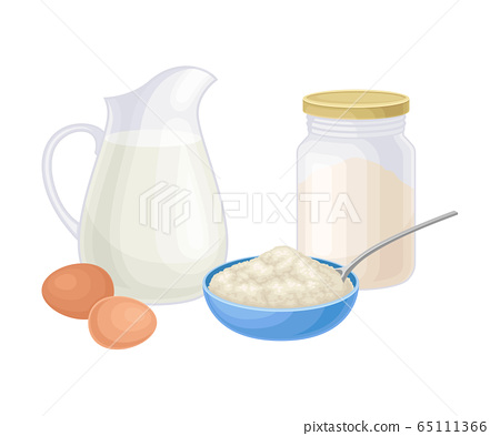 Ingredients for Cooking Pancakes with Flour and Jar of Milk Vector Illustration 65111366