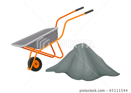 Heap of Crushed Stone and Trolley Rested Nearby Vector Illustration 65111544
