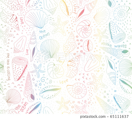 Seashell pattern rainbow gradients. Marine seamless vector pattern subtle colors on white. Beach and 65111637