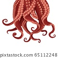 Tentacles octopus and cuttlefish. Purple tentacles kraken red suckers. 65112248