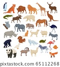 Wild home pets set. Wild animals bison elephant fox rhinoceros deer polar bear. 65112268
