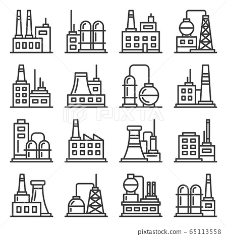 Factory and Industrial Building Icons Set. Line Style Vector 65113558